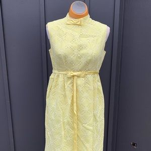 1960's Vintage Yellow Lace Maxi
